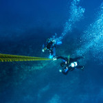 diving ascent on a rope